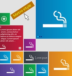 Cigarette smoke icon sign buttons modern interface vector