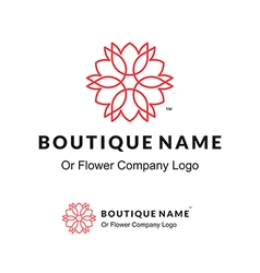 Beautiful contour logo with flower for boutique or vector