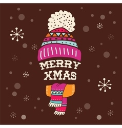 Merry christmas - warm knitted hat with lettering vector
