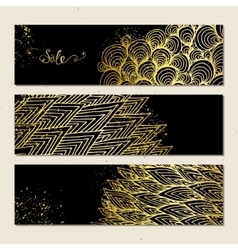 Banners with golden pattern vector