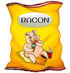 Bag of bacon chips vector