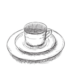 Hand drawn plate and cup vector