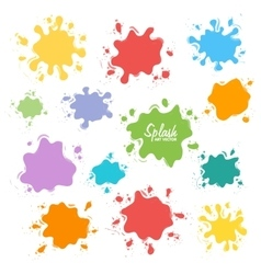 Collection of paint splash set of brush vector