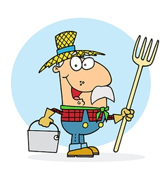 Farmer carrying a rake and pail vector