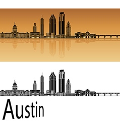 Austin skyline in orange vector image