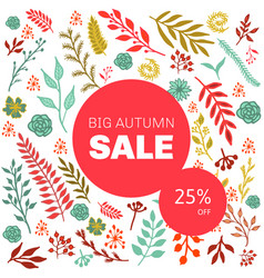 Autumn sale floral pattern vector
