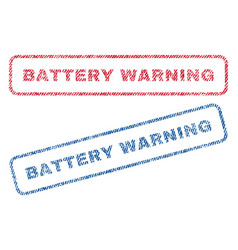 Battery warning textile stamps vector