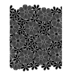 Black pattern with white contour flowers set vector