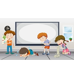 Boys and girls being sick in classroom vector