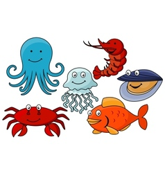 Cartoon sea animals vector image