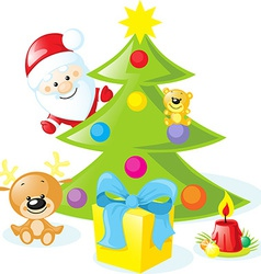 christmas design with santa claus xmas tree candle vector image vector image