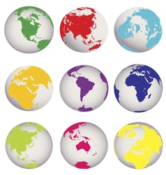 colored earth globes vector image vector image