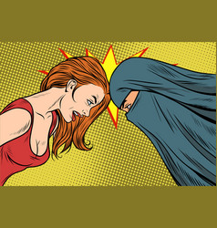 Conflict between the western and eastern woman vector