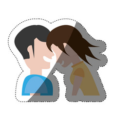 Couple laughing funny shadow vector
