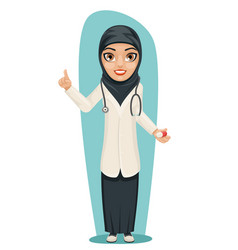 Cute arab doctor with pill medicine in hand vector