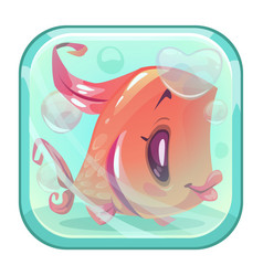Cute cartoon red fish behind the glass vector