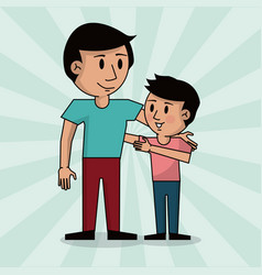 Dad and boy together fathers day image vector