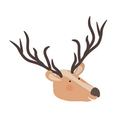 deer cartoon head colorful silhouette in white vector image