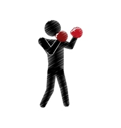 drawing colored silhouette man boxing posing vector image