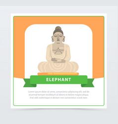 elephant banner giant statue of buddha flat vector image