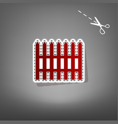 Fence simple sign red icon with for vector