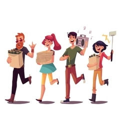 Friends hurrying to party fetching beer pizza vector