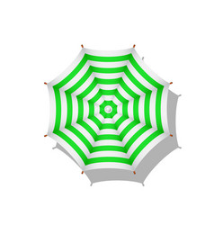 Green and white striped beach umbrella vector