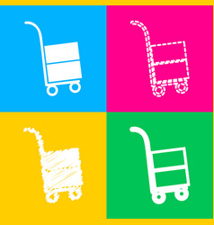 Hand truck sign four styles of icon on four color vector