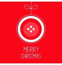 Hanging red button merry Christmas ball with bow vector image vector image