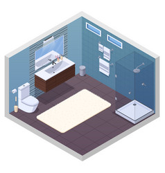 Hotel bathroom interior composition vector