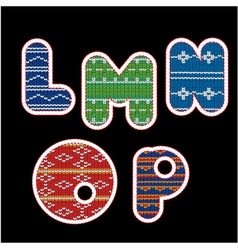 knitted alphabet - LMNOP vector image