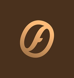 Letter F coffee logo icon design template elements vector image