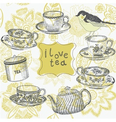 Love tea time vector