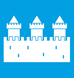 Medieval wall and towers icon white vector