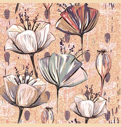 Pattern with decorative flowers vintage style vector