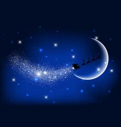 santa flying through the night sky vector image