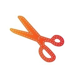 Scissors sign orange applique vector