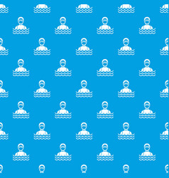 Scuba diver man in diving suit pattern seamless vector