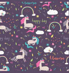 seamless pattern rainbow with unicorn vector image vector image