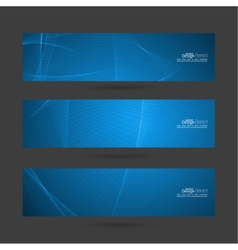 Set of blue banners with soft lines vector