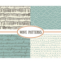 Set of wave seamless patterns background Great for vector image