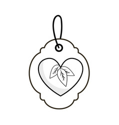 Silhouette label with heart with leaves and ribbon vector