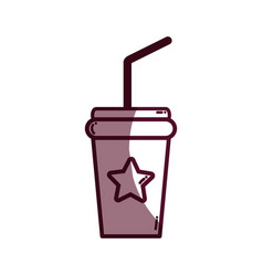 Silhouette soda beverage in the cinema movie scene vector