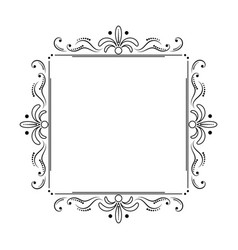 Square black elegant frame with swirls and dots vector