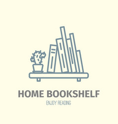 Thin lined book shelf icon vector