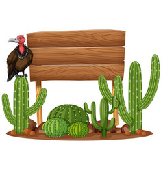 wooden sign and vulture in cactus garden vector image
