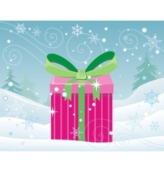 Christmas pink gift box with bow on snow landscape vector