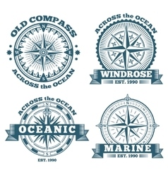 Vintage nautical labels emblems logo badges vector image