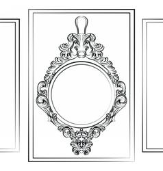 Luxury baroque rococo mirror frame set vector