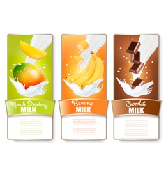Set of three labels of fruit in milk splashes vector